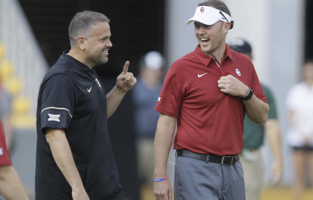 Matt Rhule's new deal with the Carolina Panthers could benefit Oklahoma's Lincoln Riley in the long run. (AP Photo/LM Otero)