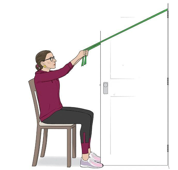 Slide resistance band around the top of a door hinge. Sit in a chair in front of the door, and grasp handles with arms extended overhead, as shown. Bending elbows, pull handles toward torso, finishing with hands apart, just below chest. Return to start; repeat. Do three sets of 10 to 12 reps.