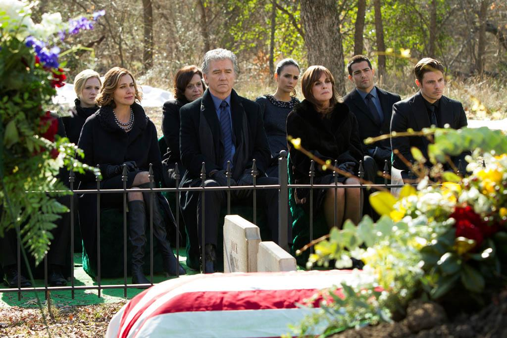 "Emma Bell, Brenda Strong, Patrick Duffy, Jordana Brewster, Linda Gray, Jesse Metcalfe and Josh Henderson in the ""Dallas"" Season 2 episode, ""J.R.'s Masterpiece."""