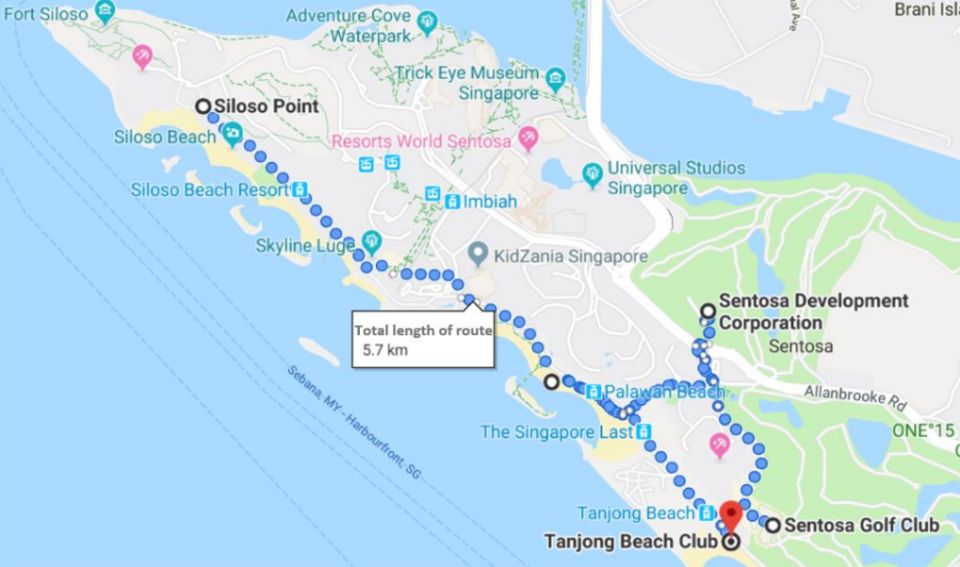 Map of the 5.7km route for the public on-demand autonomous vehicle trial in Sentosa. (INFO: Ministry of Transport)