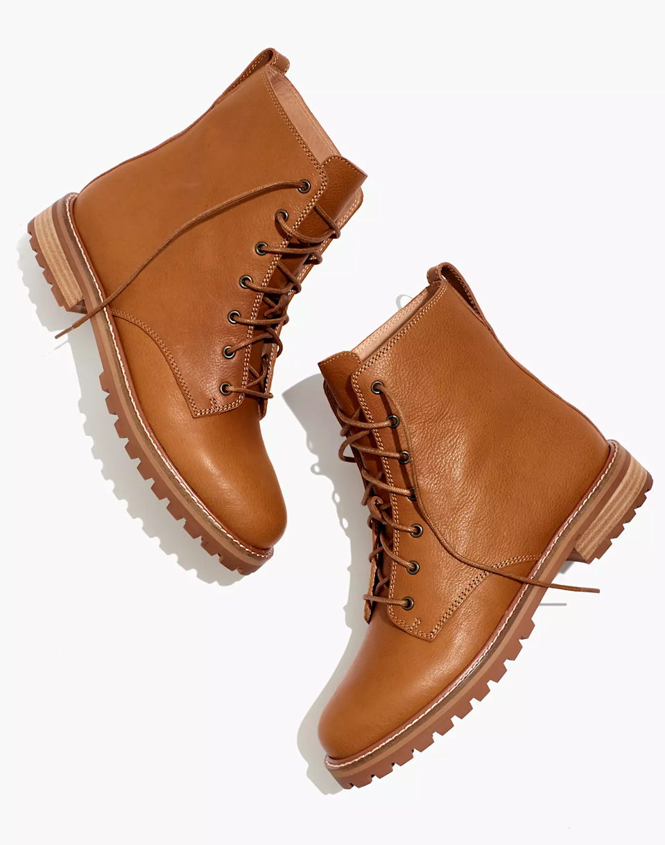 """<br><br><strong>Madewell</strong> The Clair Lace-Up Boot, $, available at <a href=""""https://go.skimresources.com/?id=30283X879131&url=https%3A%2F%2Fwww.madewell.com%2Fthe-clair-lace-up-boot-in-leather-MA979.html%3Fcolor%3DBK5229"""" rel=""""nofollow noopener"""" target=""""_blank"""" data-ylk=""""slk:Madewell"""" class=""""link rapid-noclick-resp"""">Madewell</a>"""