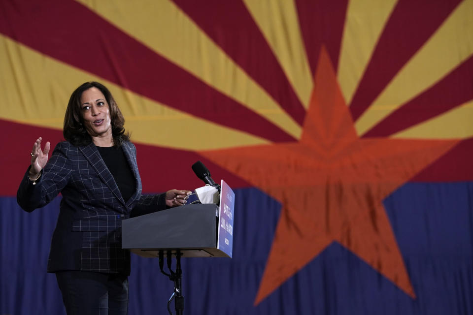 """Democratic vice presidential candidate Sen. Kamala Harris, D-Calif., speaks to """"first week voters"""" at Carpenters Local Union 1912 in Phoenix, Thursday, Oct. 8, 2020. (AP Photo/Carolyn Kaster)"""