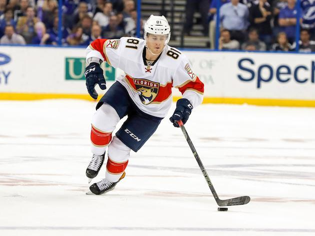 "TAMPA, FL – OCTOBER 18: <a class=""link rapid-noclick-resp"" href=""/nhl/players/5712/"" data-ylk=""slk:Jonathan Marchessault"">Jonathan Marchessault</a> #81 of the Florida Panthers takes a shootout attempt against <a class=""link rapid-noclick-resp"" href=""/nhl/teams/tam/"" data-ylk=""slk:Tampa Bay Lightning"">Tampa Bay Lightning</a> during the shootout period at the Amalie Arena on October 18, 2016 in Tampa, Florida. (Photo by Mike Carlson/Getty Images)"