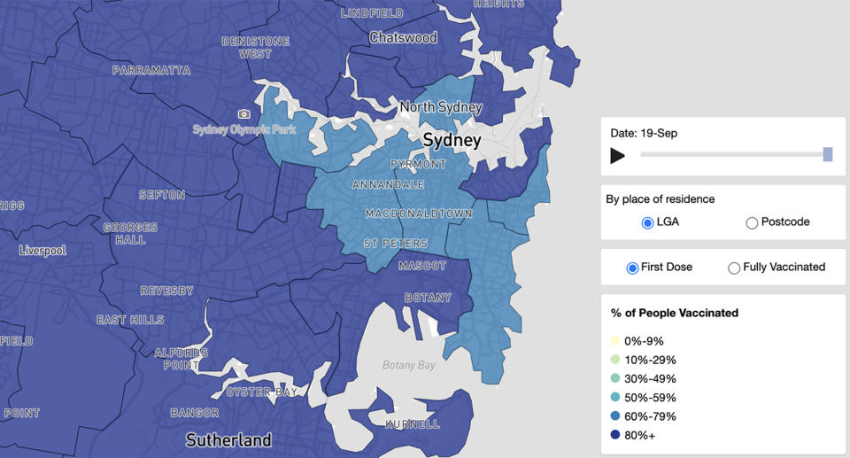 Three inner-city suburbs are lagging in vaccination rates. Source: NSW Health