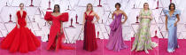 This combination shows, from left, Amanda Seyfried, Angela Bassett, Reese Witherspoon, Halle Berry, Emerald Fennell and Regina King at the Oscars on Sunday, April 25, 2021, at Union Station in Los Angeles. (AP Photo/Chris Pizzello, Pool)