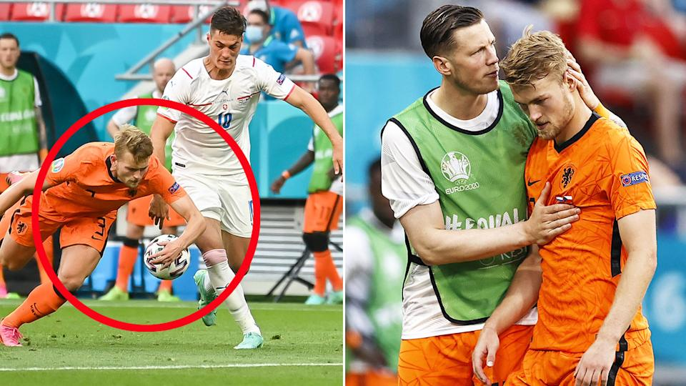 Pictured here, the handball that saw Matthijs de Ligt sent off.