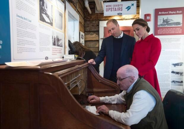 The Duke and Duchess of Cambridge look on as Bell sends a message at the MacBride Museum of Yukon History in Whitehorse in 2016.