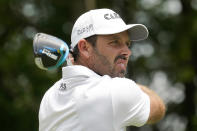 Charl Schwartzel, of South Africa, watches his tee shot on the second hole during the third round of the AT&T Byron Nelson golf tournament, Saturday, May 15, 2021, in McKinney, Texas. (AP Photo/Tony Gutierrez)
