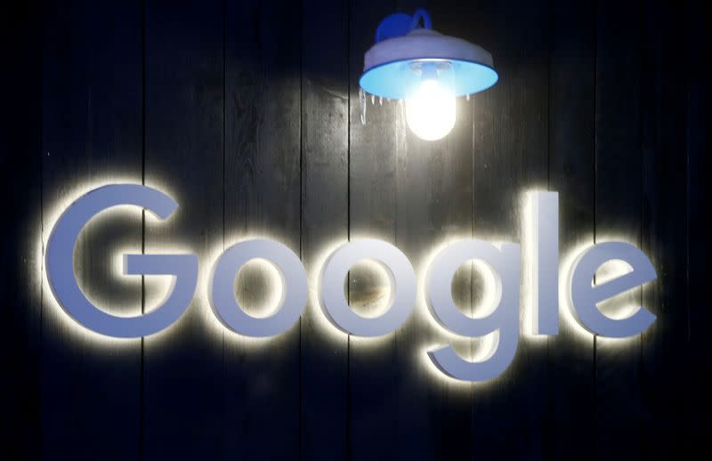 FILE PHOTO: Logo of Google is seen in Davos