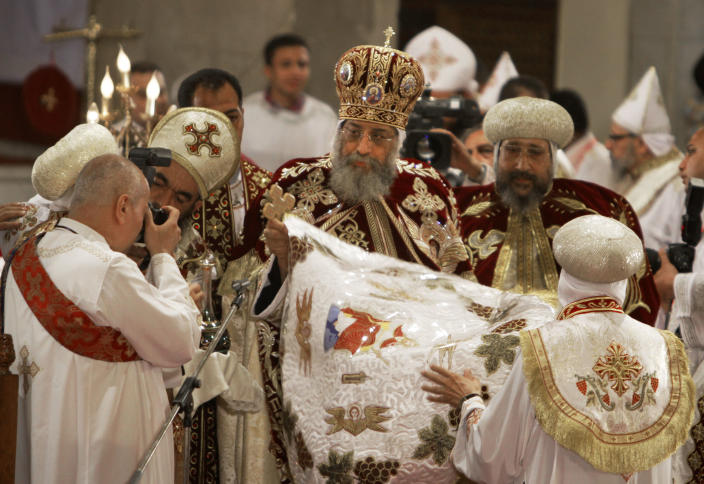 Pope Tawadros II, the 118th pope of the Coptic Church of Egypt, leads the Easter Mass at St. Mark's Cathedral in Cairo, Egypt, late Saturday May 4, 2013. Egypt's Coptic Christians, who make up about 10 percent of the country's 85 million people, have long complained of discrimination by the state. They are the largest Christian community in the Middle East. (AP Photo/Amr Nabil)