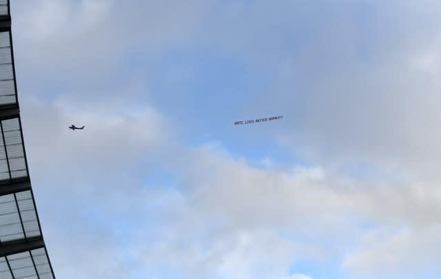 A plane flew over the Etihad Stadium with a banner reading 'White Lives Matter Burnley' (PA)