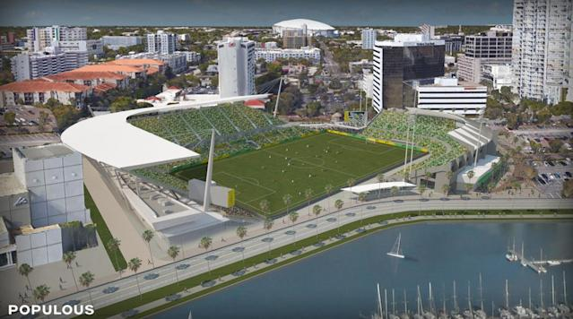 <p>The Tampa Bay Rowdies announced their plans to launch an aggressive bid for an MLS expansion spot, full with these renovations to the existing Al Lang Stadium.</p>