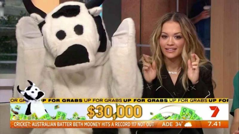 Earlier in the morning, she helped the morning show with their Cash Cow segment. Source: Seven