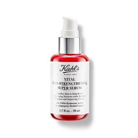 """Hyaluronic acid (HA) is one of those magic ingredients that beauty editors rave about. And no wonder: it's a naturally occurring humectant that works like a sponge to help skin retain water, leaving it plumped and dewy and minimising fine lines. HA works with every skin type but tired, dull skin will especially love this serum – a herbal mix of ginseng root and holy basil adds to the glowing results. Apply after cleansing and on damp skin for the best results, then layer your moisturiser over the top to lock in all the goodness. <br><br><strong>Kiehl's</strong> Vital Skin-Strengthening Super Serum, $, available at <a href=""""https://www.kiehls.co.uk/skin-care/category/facial-oils-serums/vital-skin-strengthening-hyaluronic-acid-super-serum/WW0116KIE.html"""" rel=""""nofollow noopener"""" target=""""_blank"""" data-ylk=""""slk:Kiehl's"""" class=""""link rapid-noclick-resp"""">Kiehl's</a>"""