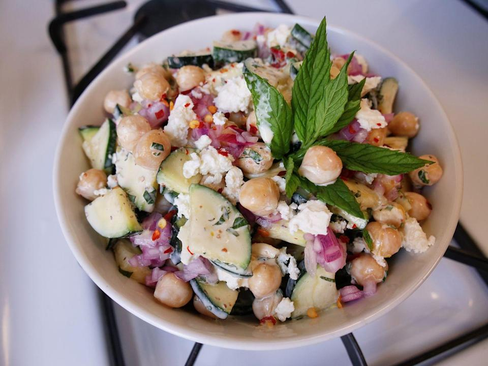 """<p>It's hot and humid and you really don't want to cook. Enter: zucchini salad, no cooking and no heat necessary.<br></p><p>Get the recipe from <a href=""""https://www.delish.com/cooking/recipe-ideas/a36730007/zucchini-salad-recipe/"""" rel=""""nofollow noopener"""" target=""""_blank"""" data-ylk=""""slk:Delish"""" class=""""link rapid-noclick-resp"""">Delish</a>.</p>"""