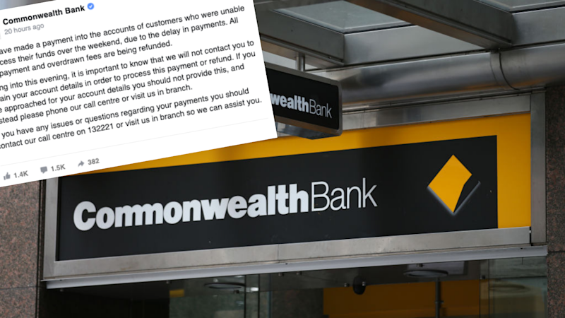 Pictured: Commonwealth Bank sign at branch, CBA post on Facebook. Images: Getty, Facebook