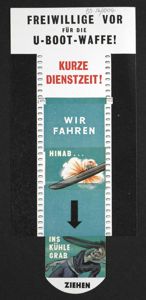 An interactive propaganda leaflet tells German u-boat volunteers they will be 'driven down into the grave' (British Library/Foreign Office)