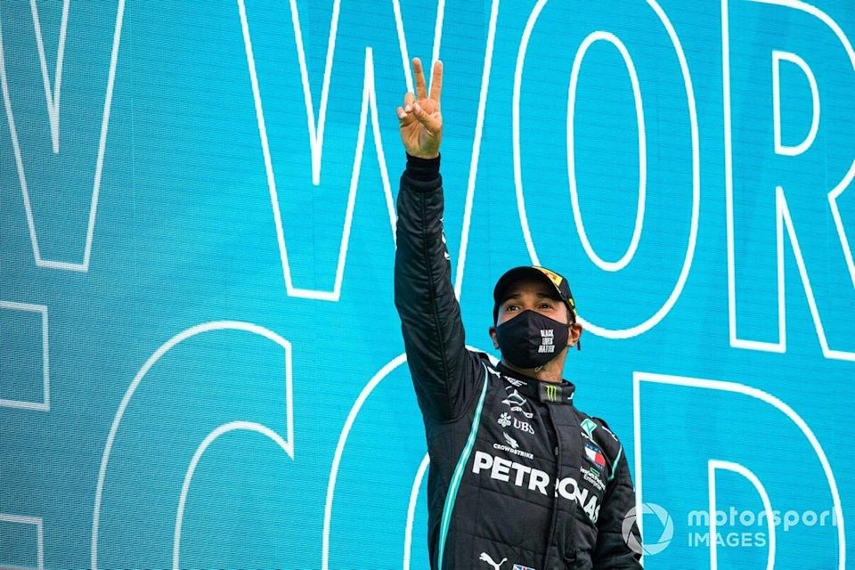 "Lewis Hamilton, Mercedes-AMG F1, 1st position, celebrates on the podium<span class=""copyright"">Sam Bloxham / Motorsport Images</span>"