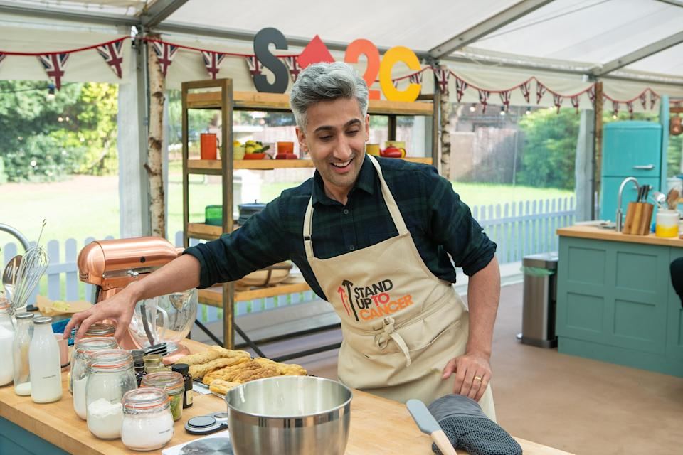 'Queer Eye's Tan France took part in 'The Great Stand Up To Cancer Bake Off'. (Channel 4/Mark Bourdillon)