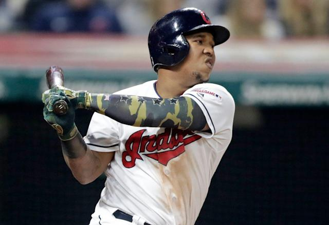 "<a class=""link rapid-noclick-resp"" href=""/mlb/teams/cleveland/"" data-ylk=""slk:Cleveland Indians"">Cleveland Indians</a>' Jose Ramirez has been among fantasy's biggest disappointments this season. (AP Photo/Tony Dejak)"