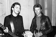 <p>David Bowie and Gerald Casale of Devo pose backstage on November 14, 1977 at Max's in Kansas City.</p>