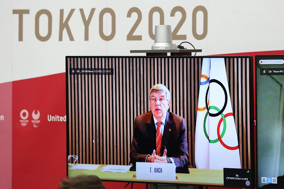 TOKYO, March 3, 2021 -- Thomas Bach, president of the International Olympic Committee IOC, speaks via teleconference during the five-party meeting at the Tokyo 2020 headquarters in Tokyo, Japan, on March 3, 2021. The Tokyo Organising Committee of the Olympic and Paralympic Games Tokyo 2020 held a five-party meeting on Wednesday with the Tokyo Metropolitan Government, the Government of Japan, the International Olympic Committee IOC and the International Paralympic Committee IPC. (Photo by Du Xiaoyi/Xinhua via Getty) (Xinhua/Du Xiaoyi via Getty Images)