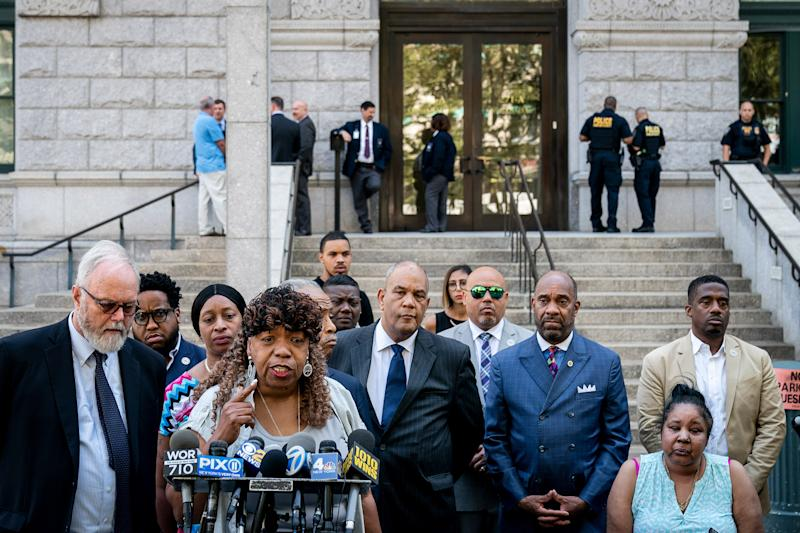 Gwen Carr, mother of the late Eric Garner, speaks to the press outside the U.S. Attorney's office following a meeting with federal prosecutors, in New York on July 16, 2019. | Drew Angerer—Getty Images