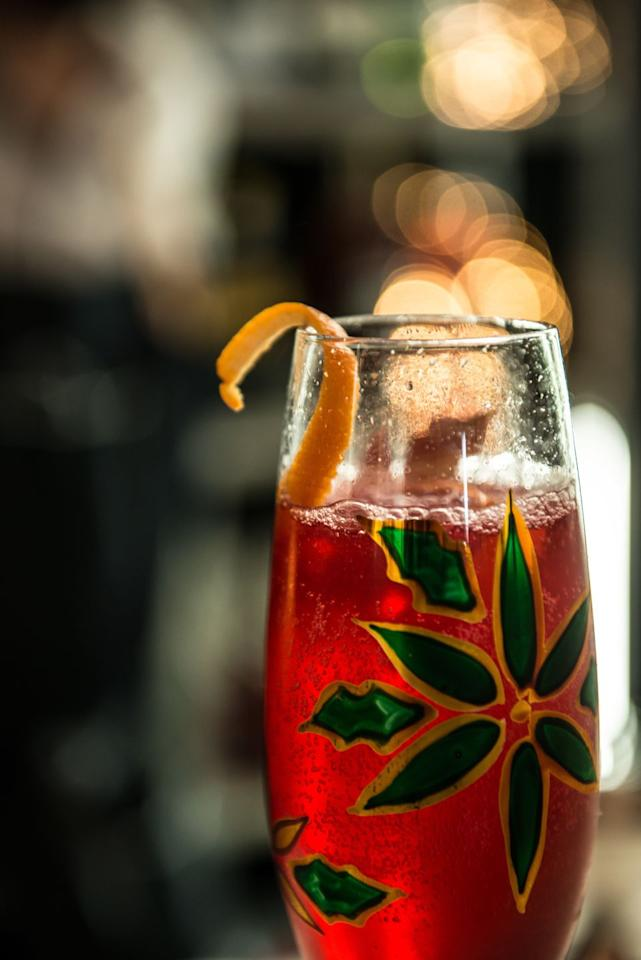 """<p><strong>Recipe:</strong><br>2 oz cranberry juice<br>.5 oz                      lemon juice<br>2 oz                       homemade sorrel tea<br>Dry kombucha<br><strong></strong><br><strong></strong><strong><strong>Directions</strong></strong><strong>:</strong><br>Shake ingredients with ice and strain into a champagne flute. Top with kombucha and garnish with a clove-studded orange twist.<em><br></em></p><p><em>From Jim Wrigley, beverage manager at <a href=""""https://www.seafireresortandspa.com/grand-cayman-restaurants/ave/"""">Ave</a> at Kimpton Seafire Resort + Spa, Grand Cayman</em><br></p>"""