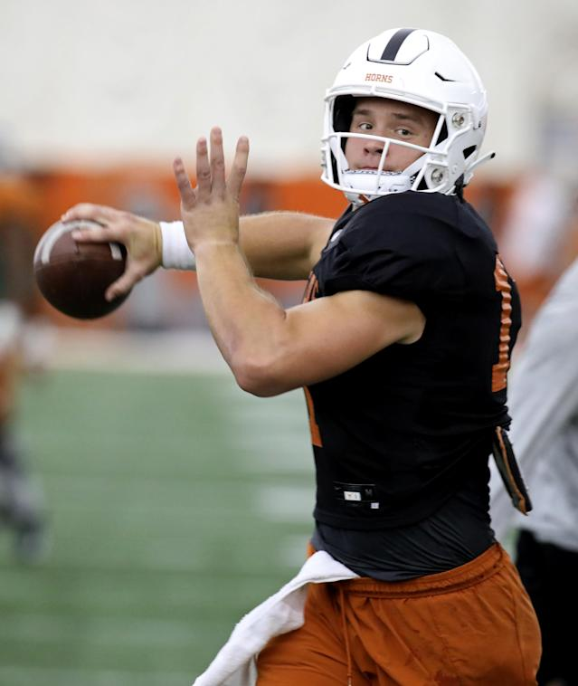 Texas Longhorns' Sam Ehlinger passes during practice Wednesday Sept. 4, 2019 in Austin, Tx. ( Photo by Edward A. Ornelas )