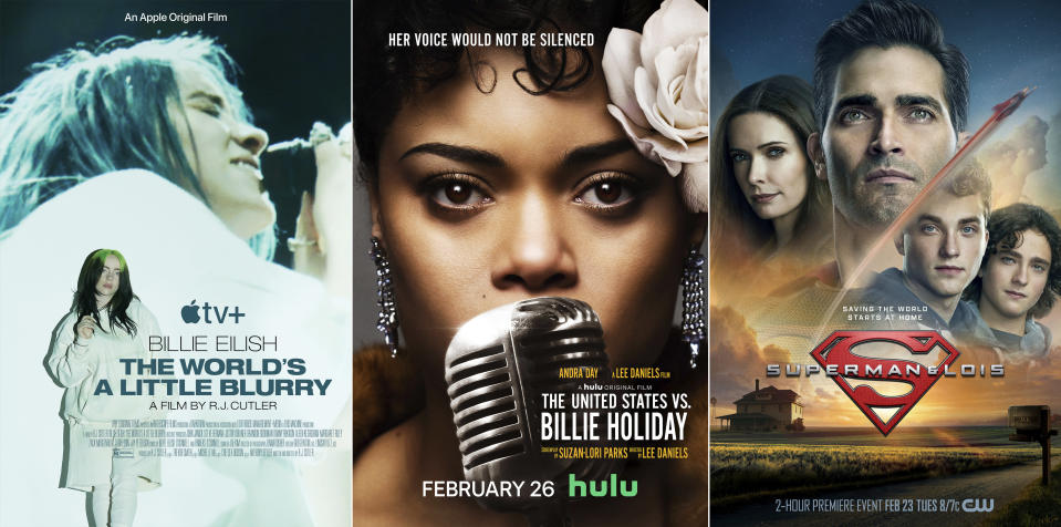 "This combination photo shows promotional art for ""Billie Eilish: The World's a Little Blurry,"" a documentary debuting Friday on Apple TV+, from left, ""The United States vs. Billie Holiday,"" premiering Friday on Hulu and ""Superman & Lois,"" a new series premiering Tuesday on The CW. (AppleTV+/Hulu/The CW via AP)"