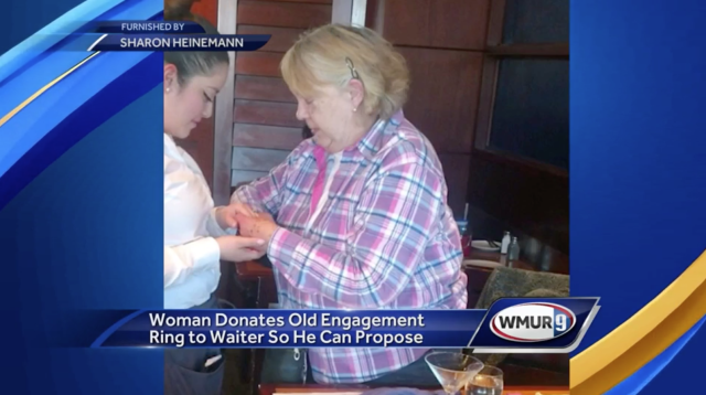 Sharon Heinemann gave her engagement ring to a server when she learned he couldn't afford to propose to his girlfriend. (Photo: WMUR)