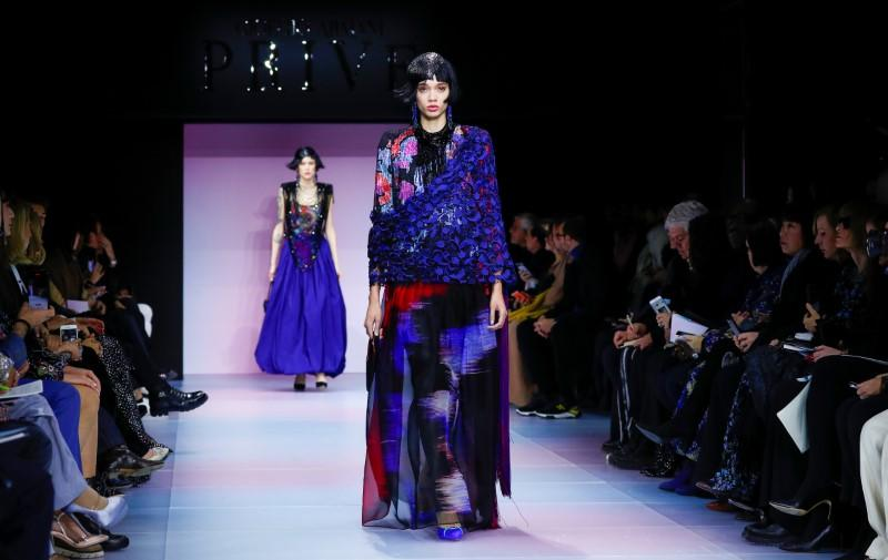 Armani pairs stern tailoring with vibrant colours for Paris show