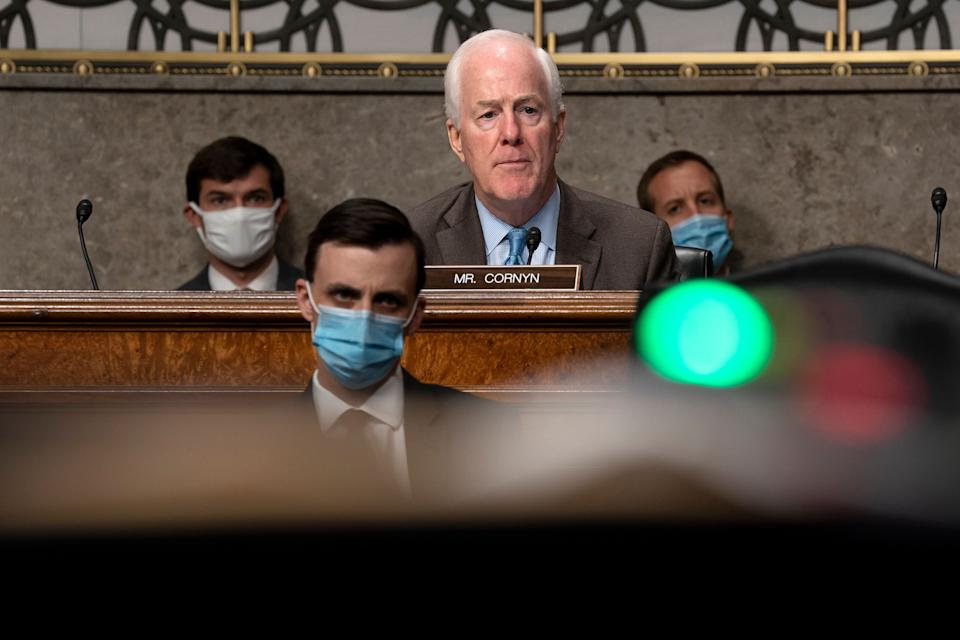 Sen. John Cornyn attended Senate Judiciary Committee hearings on Capitol Hill last week. Two other senators on that committee have since tested positive for the coronavirus. (Photo: ASSOCIATED PRESS)