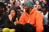 Kobe Bryant and Gianna Bryant attend the game between the Los Angeles Lakers and the Dallas Mavericks on December 29, 2019 at STAPLES Center in Los Angeles, California. (Photo by Andrew D. Bernstein/NBAE via Getty Images)