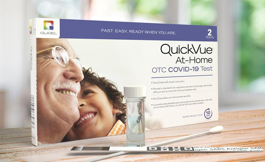 QuickVue's COVID-19 test uses a nasal swab and strips to help tell your status. (Photo: QuickVue)