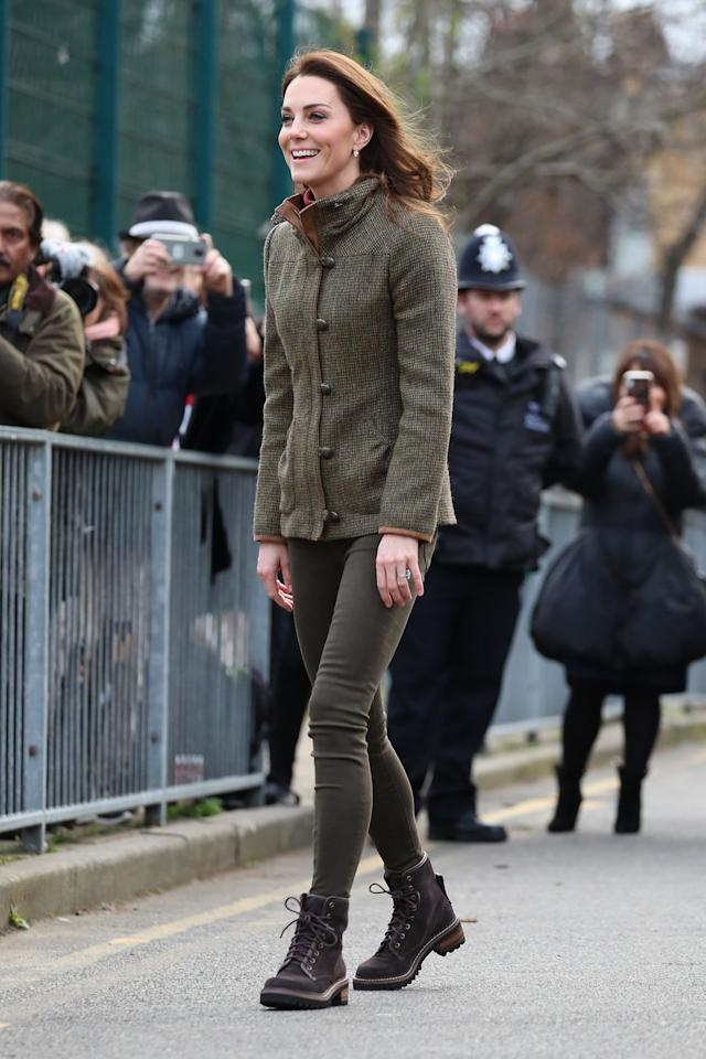 """<p><em>January 15, 2019</em> - The Duchess of Cambridge visited Islington Community Garden in London wearing a tweed <a rel=""""nofollow"""" href=""""https://www.dubarry.us/womens-clothing/tweed-jackets"""">Dubarry jacket</a>, skinny jeans, and outdoorsy <a rel=""""nofollow"""" href=""""https://www.net-a-porter.com/us/en/product/1057670"""">See by Chloé boots</a>. </p>"""