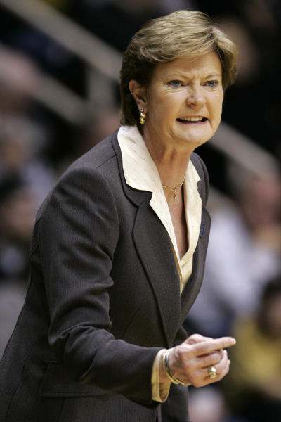 FILE - In this March 23, 2008, file photo, Tennessee coach Pat Summitt questions a call as her team plays Oral Roberts in the first half of a first-round women's NCAA college basketball tournament game in West Lafayette, Ind. For over a decade the rivalry in women's basketball was Tennessee and UConn. After a 13-year absence the two teams will play Thursday night, Jan. 23, 2020, in Hartford, Connecticut. The two powerhouse teams led by Hall of Fame coaches Pat Summitt and Geno Auriemma put the sport on the national scene starting with their historic first matchup in 1995 that was a 1 vs 2 showdown. (AP Photo/Michael Conroy, File)