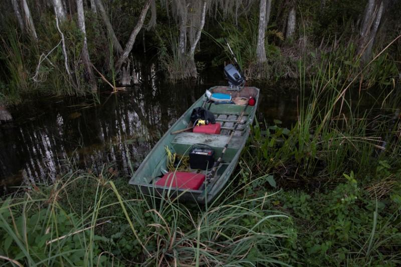 A boat of a Burmese python hunter is seen in the Everglades' swamps near Ochopee