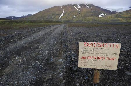 Warning sign blocks road to Bardarbunga volcano in north-west region of Vatnajokull glacier