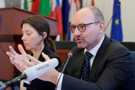 Roland Kobia, the EU Special Envoy for Afghanistan, speaks at a news conference in Beijing