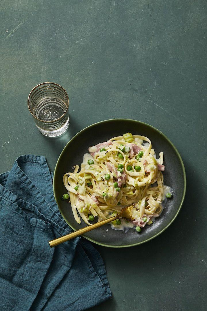 "<p>This family favorite, using leftover ham, comes together in only 25 minutes.</p><p><em><a href=""https://www.goodhousekeeping.com/food-recipes/a29310559/creamy-fettuccine-with-leeks-and-ham-recipe/"" rel=""nofollow noopener"" target=""_blank"" data-ylk=""slk:Get the recipe for Creamy Fettuccine with Leeks and Ham »"" class=""link rapid-noclick-resp"">Get the recipe for Creamy Fettuccine with Leeks and Ham »</a></em></p>"