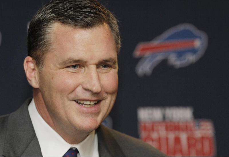 Buffalo Bills coach Doug Marrone speaks after being introduced as the new head coach during an NFL football news conference in Orchard Park, N.Y., Monday, Jan. 7, 2013. (AP Photo/David Duprey)