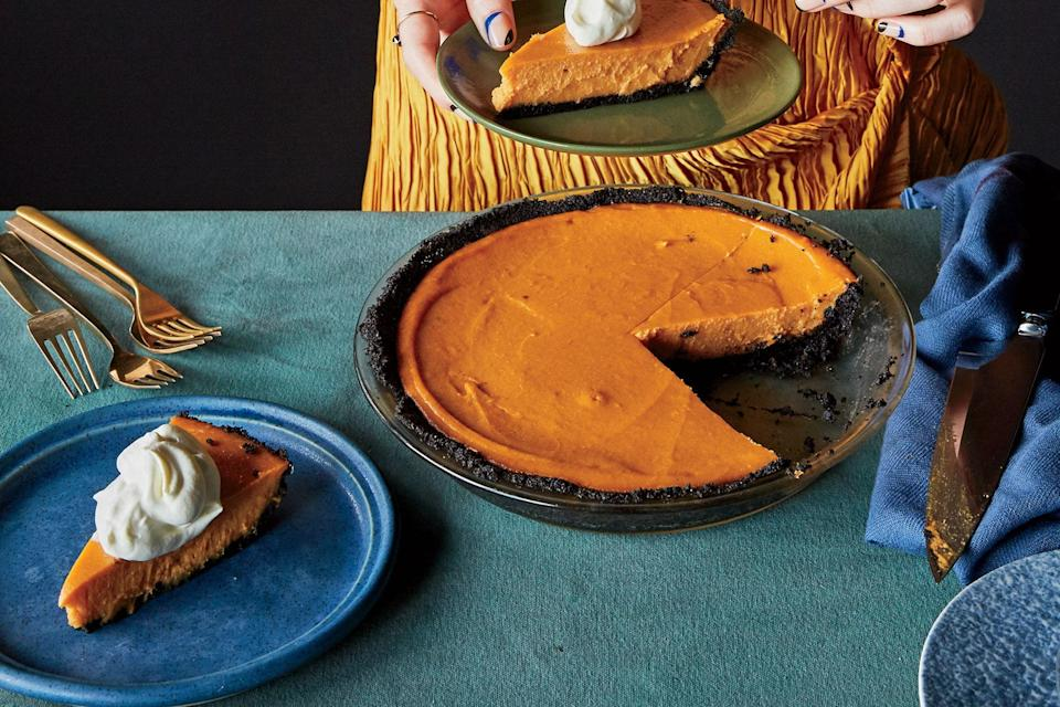 """We tested this pie recipe with canned sweet potatoes, but it just wasn't as good. Go fresh or go home. <a href=""""https://www.epicurious.com/recipes/food/views/sweet-potato-miso-pie-with-chocolate-sesame-crust?mbid=synd_yahoo_rss"""" rel=""""nofollow noopener"""" target=""""_blank"""" data-ylk=""""slk:See recipe."""" class=""""link rapid-noclick-resp"""">See recipe.</a>"""