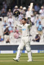New Zealand's Devon Conway celebrates scoring 200 runs during the second day of the Test match between England and New Zealand at Lord's cricket ground in London, Thursday, June 3, 2021. (AP Photo/Kirsty Wigglesworth)