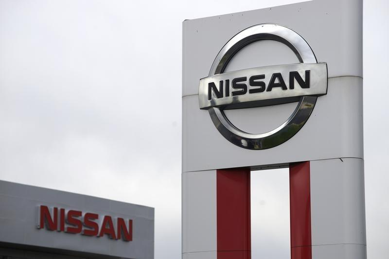 Nissan signs are seen outside a Nissan auto dealer in Broomfield, Colorado