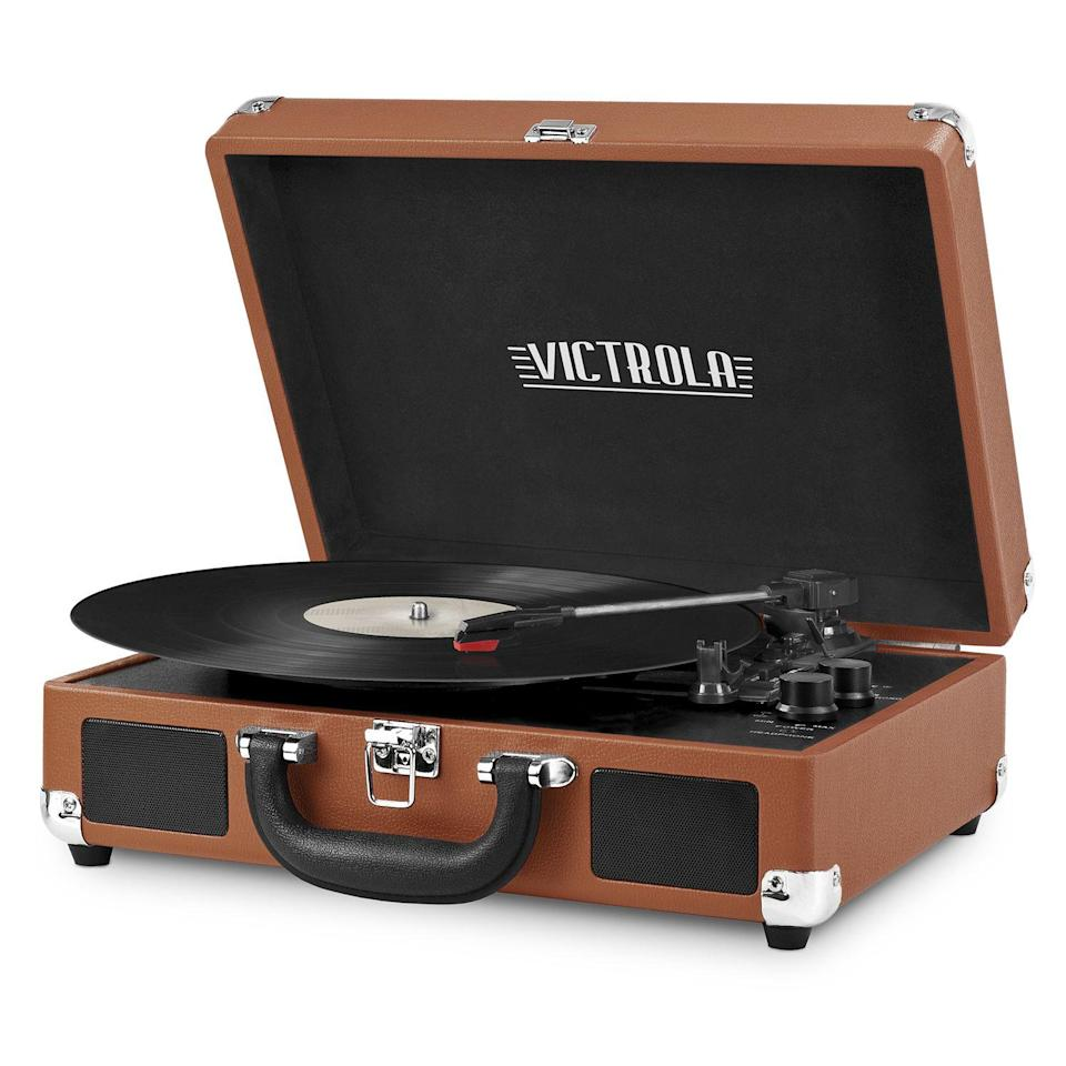 """<p><strong>Victrola</strong></p><p>walmart.com</p><p><strong>$147.97</strong></p><p><a href=""""https://go.redirectingat.com?id=74968X1596630&url=https%3A%2F%2Fwww.walmart.com%2Fip%2F429060780&sref=https%3A%2F%2Fwww.thepioneerwoman.com%2Fhome-lifestyle%2Fg36124040%2Fgraduation-gifts-for-boys%2F"""" rel=""""nofollow noopener"""" target=""""_blank"""" data-ylk=""""slk:Shop Now"""" class=""""link rapid-noclick-resp"""">Shop Now</a></p><p>Their apartment (or dorm!) will look a thousand times more sophisticated with this record player around. It happens to include built-in Bluetooth technology so they can wirelessly stream music as well as listen to records.</p>"""