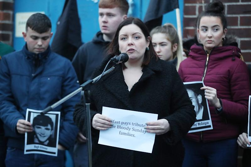 Belfast Lord Mayor Councillor Deirdre Hargey during a vigil in West Belfast Northern Ireland (PA)