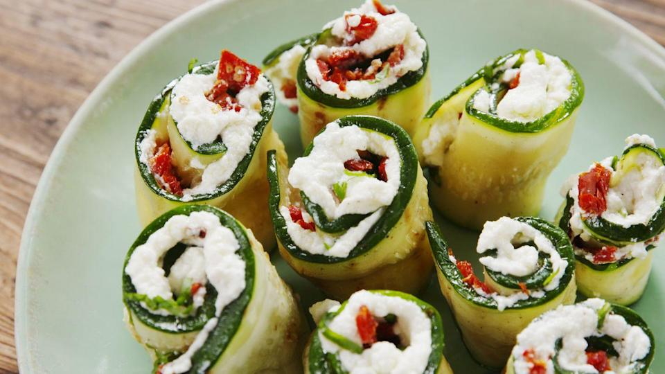 """<p>Roll 'em up, knock 'em down.</p><p>Get the recipe from <a href=""""https://www.delish.com/cooking/recipe-ideas/a20877743/grilled-zucchini-roll-ups-recipe/"""" rel=""""nofollow noopener"""" target=""""_blank"""" data-ylk=""""slk:Delish"""" class=""""link rapid-noclick-resp"""">Delish</a>.</p>"""