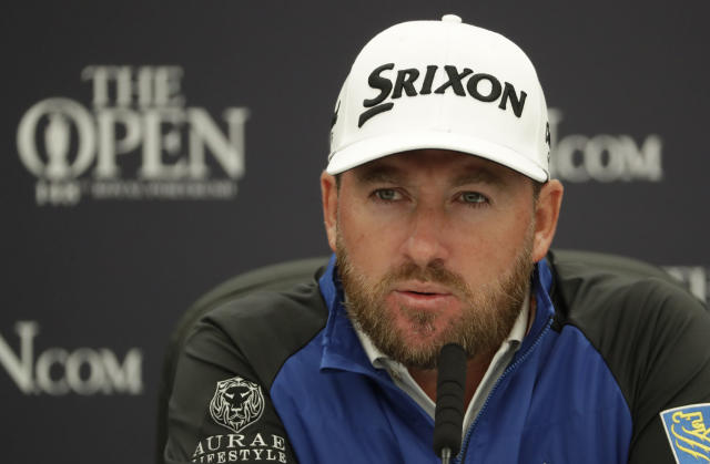 Northern Ireland's Graeme McDowell speaks during a press conference ahead of the start of the British Open golf championships at Royal Portrush in Northern Ireland, Wednesday, July 17, 2019. The British Open starts Thursday. (AP Photo/Matt Dunham)
