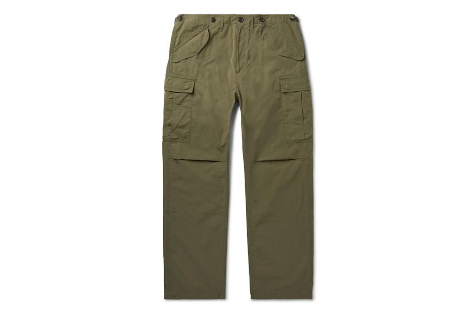 "$1320, Mr Porter. <a href=""https://www.mrporter.com/en-us/mens/product/visvim/clothing/casual-trousers/jumbo-cotton-blend-twill-cargo-trousers/14097096497246386"" rel=""nofollow noopener"" target=""_blank"" data-ylk=""slk:Get it now!"" class=""link rapid-noclick-resp"">Get it now!</a>"